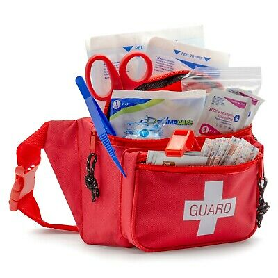 Primacare KB-8005 First Aid Fanny Pack, Life Guard - Red Stocked with Supplies