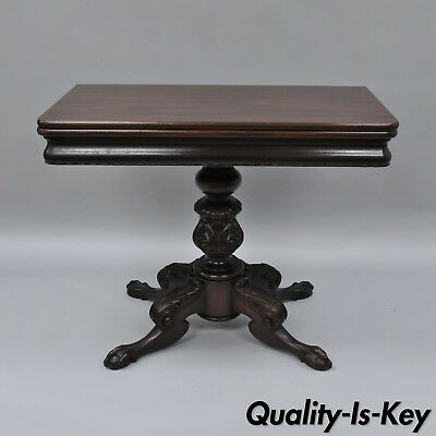 Antique Classical Empire Mahogany Ball and Claw Console Flip Top Game Table