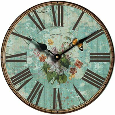 Vintage Roman Large Clock Numeral Wooden Quiet Wall Rustic Kitchen Home Antique