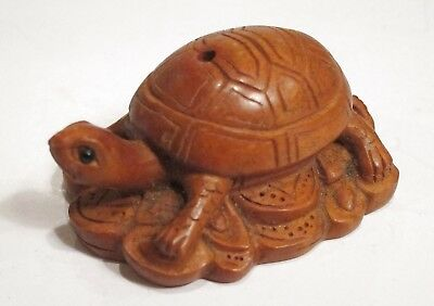 Turtle Boxwood Carving - Pendant Charm Talisman - Chinese - US Seller