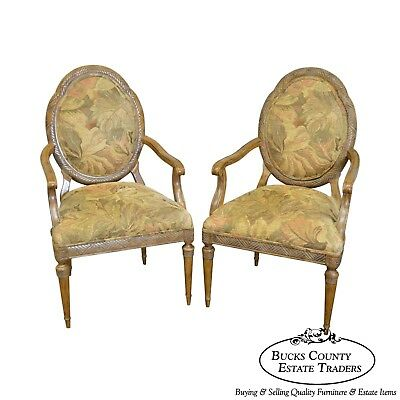 Jeffco French Louis XVI Style Pair of Fauteuils Arm Chairs (A)