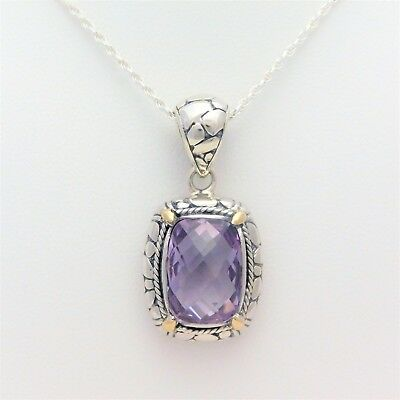 18k Gold and Sterling Silver 5.50ct Cushion-Checkerboard Amethyst Pendant Neckla