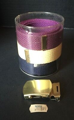 NEW! SET OF 3 Revco Vintage Military CANVAS WEB BELT Purple Beige Navy + BUCKLE