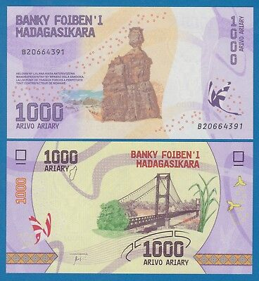 Madagascar 1000 Ariary P New 2017 UNC Low Shipping! Combine FREE!