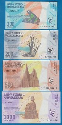 4 Notes, Madagascar 100 + 200 + 500 + 1000 Ariary P New 2017 UNC Low Shipping!