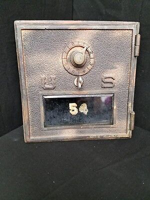 "Vintage Post Office Door  Mail Box Postal Bank-US 6"" X 6"" Brass Door"