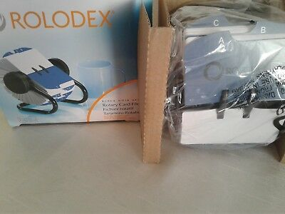 New Unused Sanford Rolodex Rotary Card File Black & 500 Cards 66704 Office