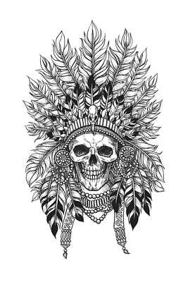 Crown of Feathers on A Skull Art Print Poster 24x36 inch