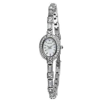 Bulova Crystal Silver-Tone White Dial Women's Watch 96T49 SD9
