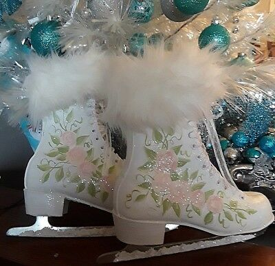 Shabby Chic White Christmas Ice Skates HAND PAINTED PINK ROSES Glitter HOLIDAY