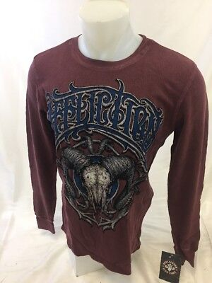 4498d8eb617 Mens NEW AFFLICTION THERMAL LONG SLEEVE BURGUNDY STRIKE DEADLY A16860 NWT