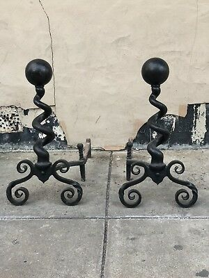 Black antique fireplace andirons Wrought Iron Gothic Abstract