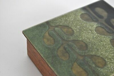 Calimoge Vtg Mid Century California Modern Enamel Copper Wood Box Dish Plate Mcm