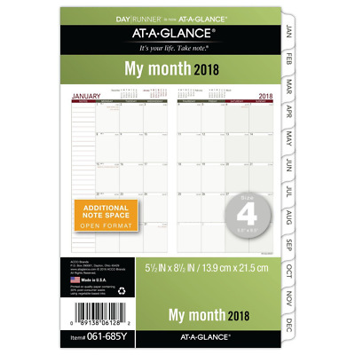"""AT-A-GLANCE Day Runner Monthly Planner Refill, Jan - Dec 2018, 5-1/2"""" x 8-1/2"""""""