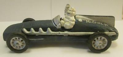 Very Nice Cast Iron Blue Michelin Man Car Signed 1934 HUBLEY