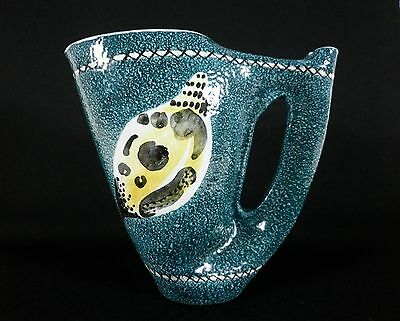 Vintage Italy ITALIAN Langbein Hand Painted Shell Art Modern Pottery Pitcher