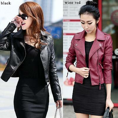 New Vintage Women Slim Biker Motorcycle PU Soft Leather Zipper Jacket Coat Hot