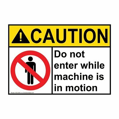 ANSI CAUTION Machine Safety Sign with Symbol, 20x14 in. Aluminum, USA-Made