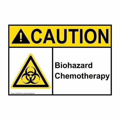 ANSI CAUTION Biohazard Chemotherapy Label with Symbol, 5x3.5 in. Vinyl 4-Pack