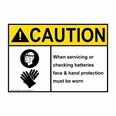 ANSI CAUTION PPE - Multiple Sign with Symbol, 20x14 in. Aluminum, USA-Made