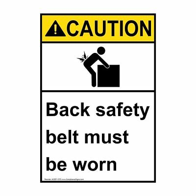 Vertical ANSI CAUTION PPE - General Label with Symbol, 5x3.5 in. Vinyl 4-Pack