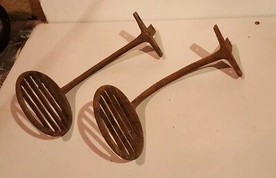 Antique Cast Iron Buggy Wagon cart horse Carriage Stage Coach Step Set Pair