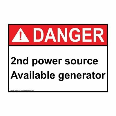ANSI DANGER 2Nd Power Source Available Generator Label, 5x3.5 in. Vinyl, 4-Pack