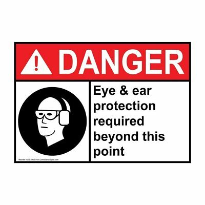 ANSI DANGER PPE - Multiple Sign with Symbol, 20x14 in. Aluminum, Made in the USA