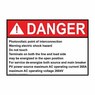 ComplianceSigns Vinyl ANSI DANGER Photovoltaic Point Of Interconnection...