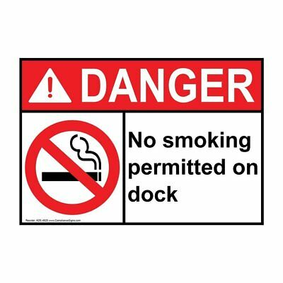 ANSI DANGER No Smoking Permitted On Dock Sign with Symbol, 20x14 in. Aluminum