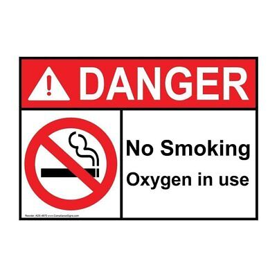 ANSI DANGER No Smoking Oxygen In Use Sign with Symbol, 10x7 in. Plastic