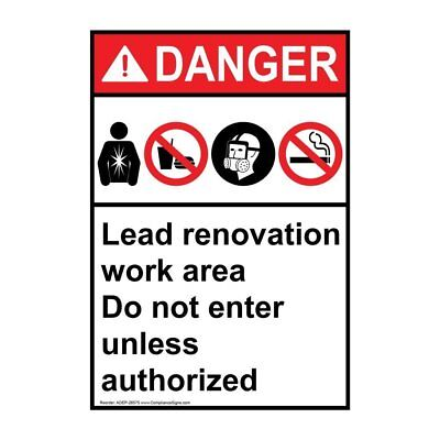 Vertical ANSI DANGER Lead Renovation Sign with Symbol, 14x10 in. Aluminum