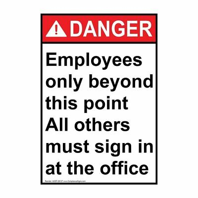 Vertical ANSI DANGER Employees Only Label, 5x3.5 in. Vinyl, 4-Pack, USA-Made