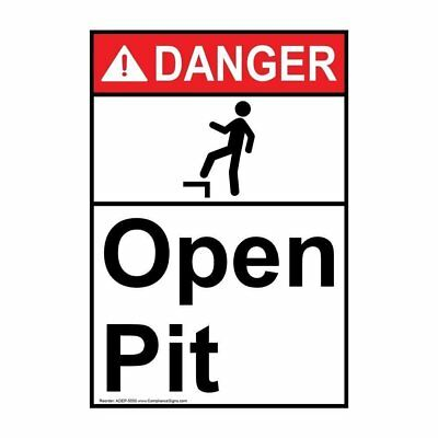 Vertical ANSI DANGER Open Pit Sign with Symbol, 10x7 in. Plastic, USA-Made