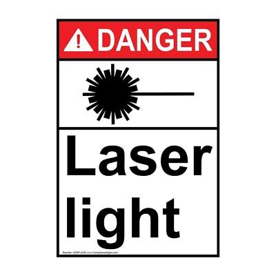 Ansi danger laser light sign with symbol 10x7 in plastic usa made vertical ansi danger laser light sign with symbol 14x10 in aluminum usa publicscrutiny Image collections