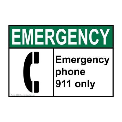 ANSI EMERGENCY Emergency Phone 911 Only Sign with Symbol, 7x5 in. Aluminum