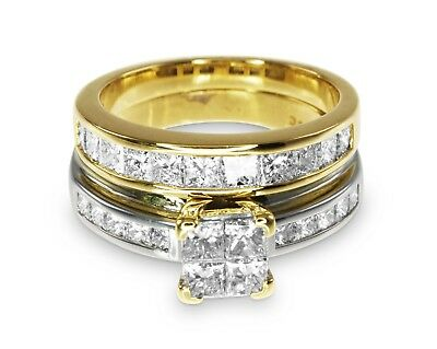 18k Yellow Gold 2.00ct Diamond Engagement/Wedding 2 Ring Bridal Set Sz.O #550905