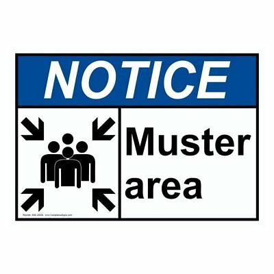 ANSI NOTICE Muster Area Sign with Symbol, 10x7 in. Plastic, Made in USA