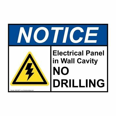 ANSI NOTICE Electrical Panel Sign with Symbol, 14x10 in. Aluminum, USA-Made