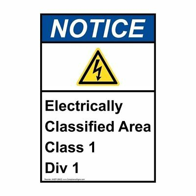 Vertical ANSI NOTICE Electrical Label with Symbol, 5x3.5 in. Vinyl 4-Pack
