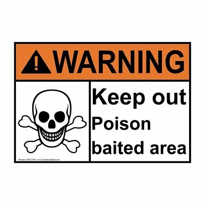Compliancesigns plastic keep out poison baited no pets allowed sign ansi warning keep out poison baited area sign with symbol 10x7 in plastic publicscrutiny Images