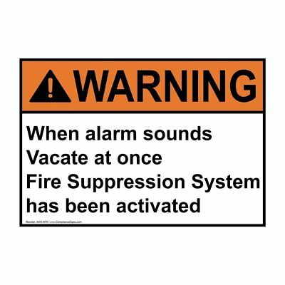 ANSI WARNING Alarm Will Sound Sign, 14x10 in. Aluminum, Made in the USA