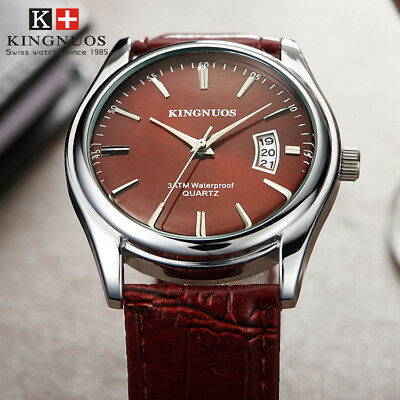 Fashion Casual Mens Simple Date Leather Strap Quartz Business Male Wristwatches