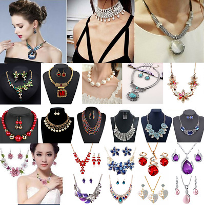 Fashion Bridal Wedding Rhinestone Crystal Necklace Earrings Jewelry Set Party