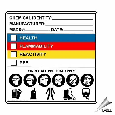 ComplianceSigns Vinyl Label, 4 x 4 in. with Chemical Info, 10-Pack White
