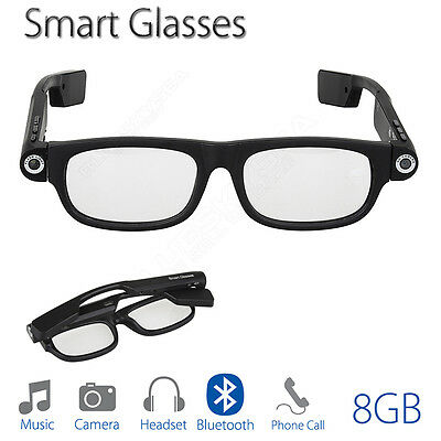 Portable Smart Glasses Bluetooth 8GB TFCard Headphone Music Photo Video Wireless