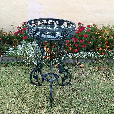 "Vintage Cast Iron Serving Drinks Table / Plant Stand  Heavy 30"" Tall"