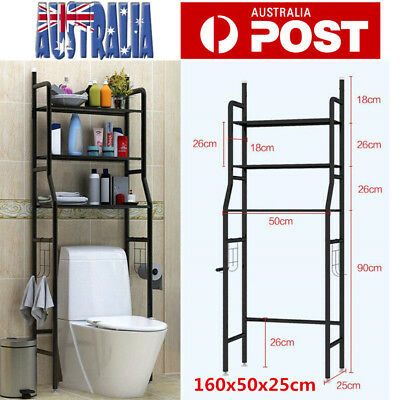 3 Tier Over Toilet Bathroom Storage Rack Shelf Organizer Space Saver Black/White