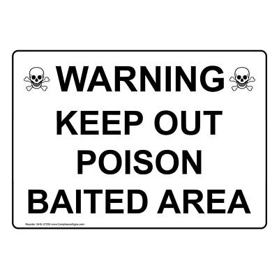 Compliancesigns plastic keep out poison baited no pets allowed sign compliancesigns plastic warning keep out poison baited area sign 10 x 7 in publicscrutiny Image collections