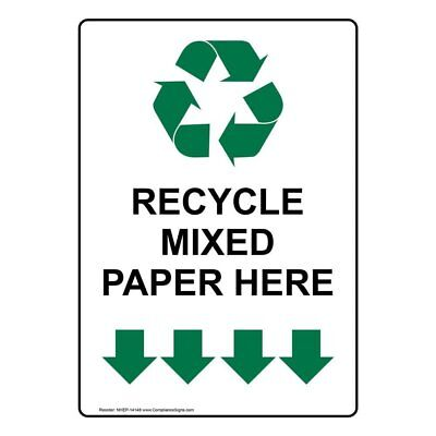 ComplianceSigns Vertical Vinyl Recycle Mixed Paper Here Labels, 5 x 3.50 in.